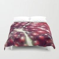 pomegranate Duvet Covers featuring Pomegranate  by Blue Lightning Creative