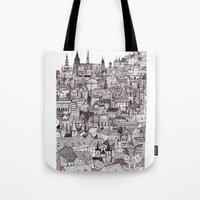 prague Tote Bags featuring Prague by Justine Lecouffe