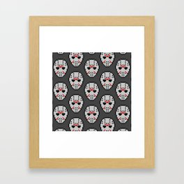 Knitted Jason hockey mask pattern Framed Art Print