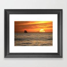 Sunset sail Framed Art Print