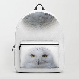 Dreamy Encounter with a Serene Snowy Owl Backpack
