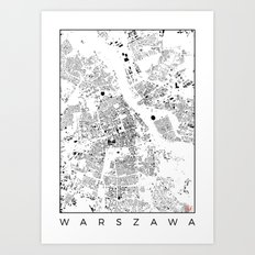 Warszawa Map Schwarzplan Only Buildings Art Print