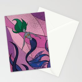 Mermaid Stained Glass (Royal) Stationery Cards