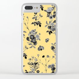 Black and White Floral on Yellow Clear iPhone Case