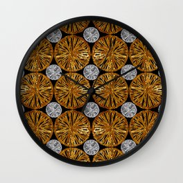 Ethnic pattern. Gold and silver on black. Wall Clock