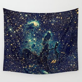 Pillars of Creation GalaxY  Teal Blue & Gold Wall Tapestry
