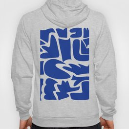 Blue shapes on white background Hoody