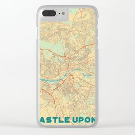Newcastle upon Tyne Map Retro Clear iPhone Case