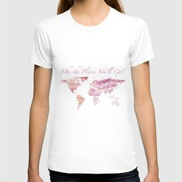 Cotton Candy Sky World Map - Oh, the Places You'll Go! T-shirt