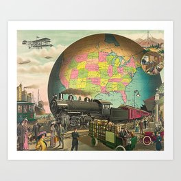 Vintage Retro Steampunk World Globe Transport Art Print