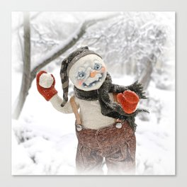 Rucus Studio Snow Day! Snowman Canvas Print