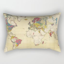 Vintage Geological Map of The World (1875) Rectangular Pillow