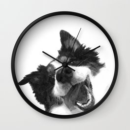 Black and White Happy Dog Wall Clock