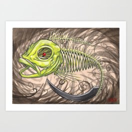 """Koi Series,""""Behold a Pale Horse, and his name it said on it was death, and hell followed him."""" Art Print"""