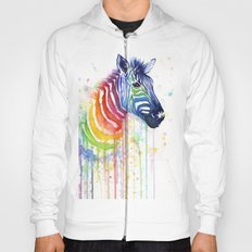 Zebra Rainbow Watercolor Whimsical Animal Hoody