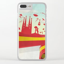 Spain Element on Flag with sky background Clear iPhone Case
