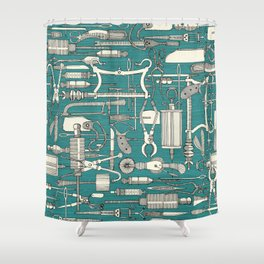 fiendish incisions blue Shower Curtain