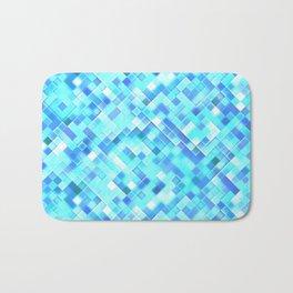 Sky Blue Bright Mosaic Squares Bath Mat
