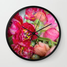 Fiery Red Flowers Wall Clock