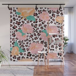 Leopard and watercolor roses pattern  Wall Mural