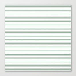 Moss Green and White Mattress Ticking Wide Striped Pattern Canvas Print