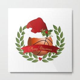 Christmas Basketball Metal Print