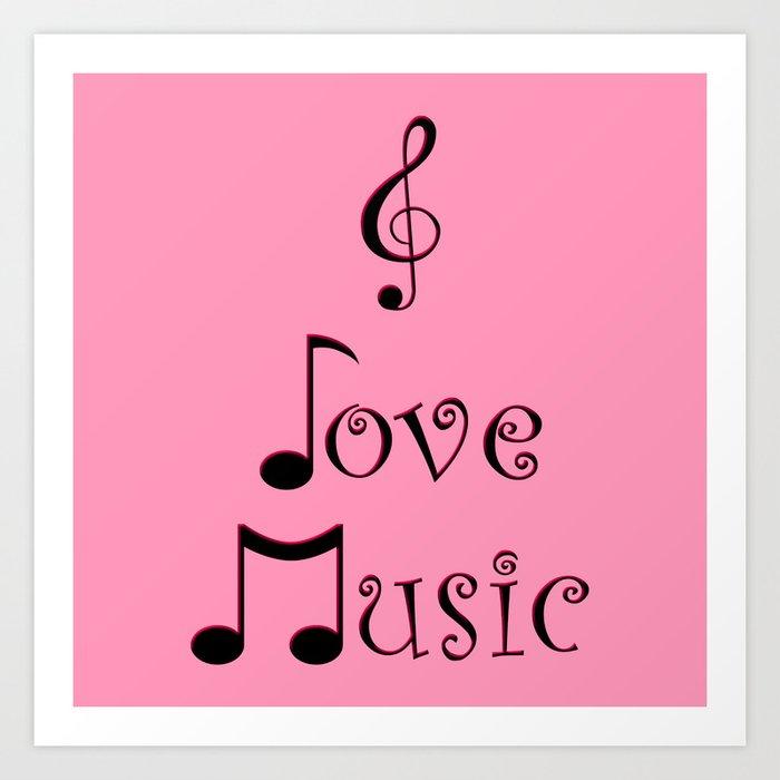 I Love Music - Punk Pink Art Print
