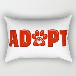 Shiny Red ADOPT Animal Paw Print with  White Heart Rectangular Pillow