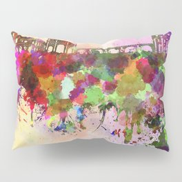 Rome skyline in watercolor background Pillow Sham