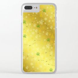 gold Merry christmas text in gold, beautiful reindeer, green fir trees, bright stars festive Clear iPhone Case