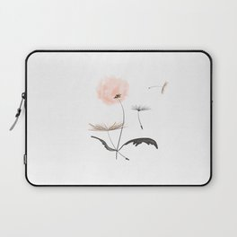 Sweet dandelions in pink - Flower watercolor illustration with glitter Laptop Sleeve