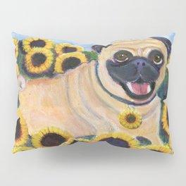 Pug in Sunflowers Pillow Sham