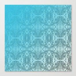 Blue Gradient Floral Doodle Pattern Canvas Print