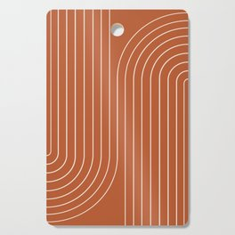 Minimal Line Curvature - Coral Red Cutting Board
