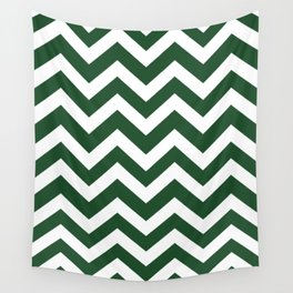 Cal Poly Pomona green - green color - Zigzag Chevron Pattern Wall Tapestry