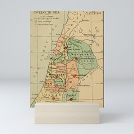 Map of Palestine Divided by the 12 tribes from 1889 Mini Art Print