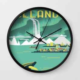 Vintage Mid Century Modern Iceland Scandinavian Travel Poster Ocean Whale Winter Village Wall Clock