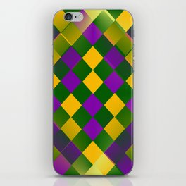 Harlequin Mardi Gras pattern iPhone Skin