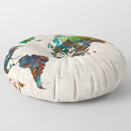 World Map 61 Floor Pillow