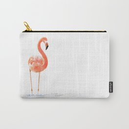 """""""Just Peachy"""" - 5"""" x 7"""" acrylic painting of a Flamingo by Teresa Thompson Carry-All Pouch"""
