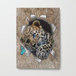 Baby Leopard & Blue Butterfly Metal Print