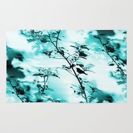 Silhouette of songbird on a branch in turquoise variation #decor #society6 Rug