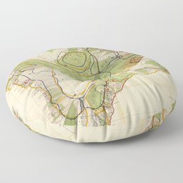 Vintage Map of Hawaii Island (1906) Floor Pillow