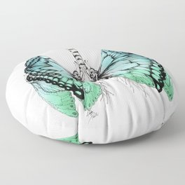 Butterfly Lungs Blue Green Floor Pillow