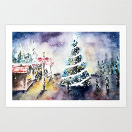 Quiet evening at the Christmas Market Art Print