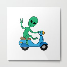 Alien On The Go Go Go Metal Print