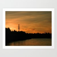 Sunset by the Water Art Print