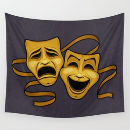 Gold Comedy And Tragedy Theater Masks Wall Tapestry