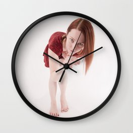 1190s-MM Model Megan in a Little Red Dress Bending Down to See Wall Clock