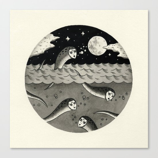 Convening on the Full Moon Canvas Print